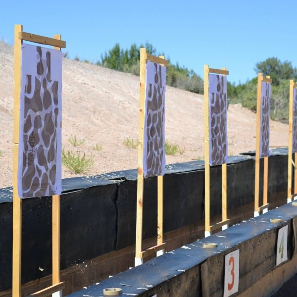 Paper targets at a gun range for target practice and firearms training